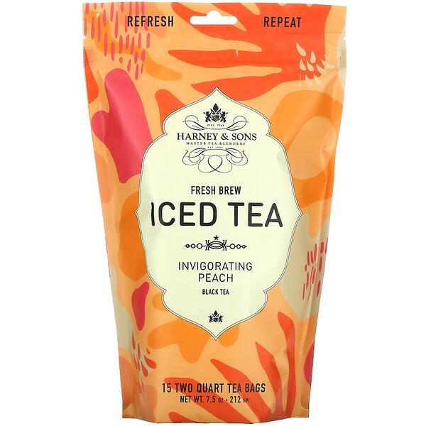Fresh Brew Iced Tea, Black Tea, Invigorating Peach, 15 Tea Bags, 7.5 oz (212 g)