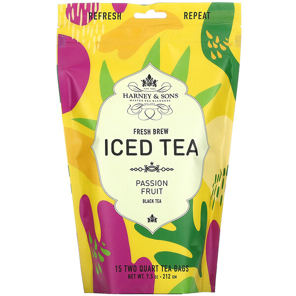 Harney & Sons, Fresh Brew Iced Tea, Passion Fruit Black Tea, 15 Tea Bags, 7.5 oz (212 g)