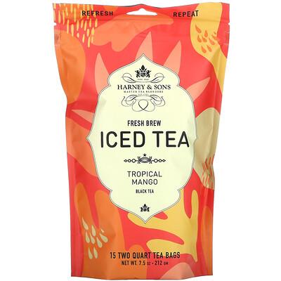 Harney & Sons Fresh Brew Iced Tea, Tropical Mango Black Tea, 15 Tea Bags, 7.5 oz (212 g)