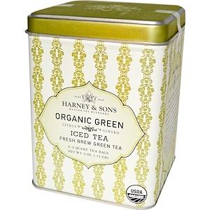 Harney & Sons, Холодный зеленый чай свежей заварки, органический зеленый, 6 пакетиков на 2 кварта, 0,11 г (3 унции) инструкция, применение, состав, противопоказания