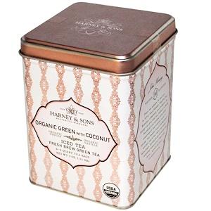 Harney & Sons, Заварка для чая со льдом, органический зеленый чай с кокосовым 6-2 Quart чайных пакетиков, 3 унции (.11 г) инструкция, применение, состав, противопоказания