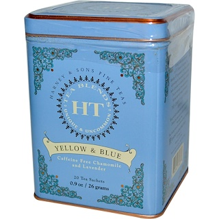 Harney & Sons, Yellow & Blue, Caffeine Free Chamomile and Lavender, 20 Tea Sachets, 0.9 oz (26 g)