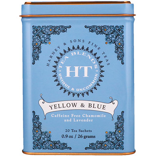 Harney & Sons, HT Tea Blend, Yellow & Blue, Caffeine Free Chamomile and Lavender, 20 Tea Sachets, 0.9 oz (26 g)