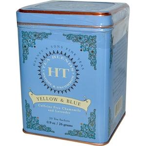 Harney & Sons, Желтый и синий, Чай с ромашкой и лавандой, без кофеина, 20 чайных саше, 0,9 унций (26 г) инструкция, применение, состав, противопоказания