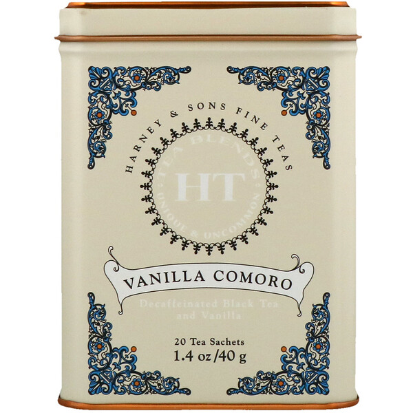 Harney & Sons, HT Tea Blend, Vanilla Comoro Tea, 20 Tea Sachets, 1.4 oz (40 g)