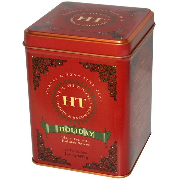 Harney & Sons, Черный чай с праздничными специями, 20 пакетиков, 1.4 унций (40 г) (Discontinued Item)