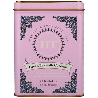 Harney & Sons, Green Tea with Coconut, 20 Tea Sachets, 1.4 oz (40 g)