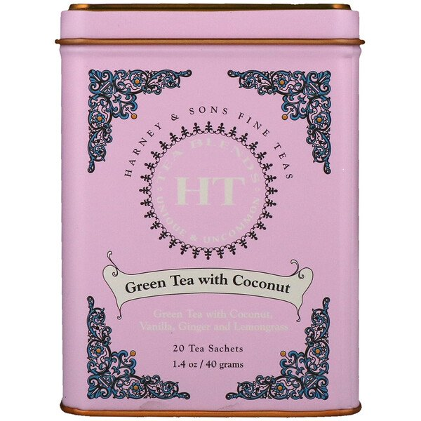 HT Tea Blend, Green Tea with Coconut, 20 Tea Sachets, 1.4 oz (40 g)