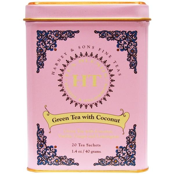 Harney & Sons, Green Tea with Coconut, 20 Tea Sachets, 1.4 oz (40 g)