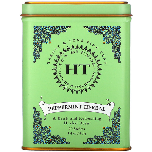HT Tea Blend, Peppermint Herbal, Caffeine Free, 20 Tea Sachets, 1.4 oz (40 g)