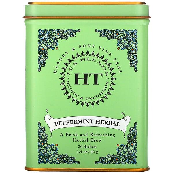 ハーニー&サンズ, ファインティー ペパーミント カフェインフリー ティーバッグ20個入り, 1.4 oz (40 g)