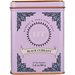 Harney & Sons, ブラックカラントティー, 20 ティーサシェ, 1.4 オンス (40 g)