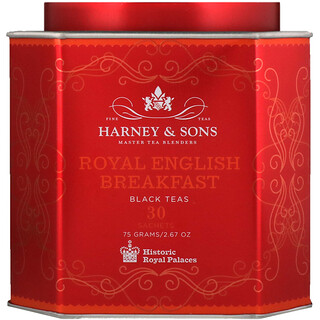 Harney & Sons, Royal English Breakfast, Black Teas, 30 Sachets, 2.67 oz (75 g) Each