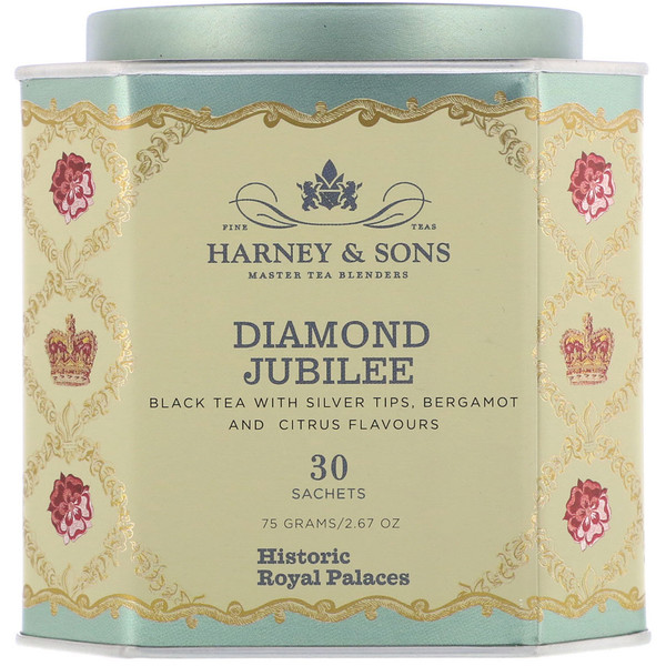 Harney & Sons, Diamond Jubilee, Black Tea with Silver Tips, Bergamot and Citrus Flavors, 30 Sachets, 2.67 oz (75 g) (Discontinued Item)