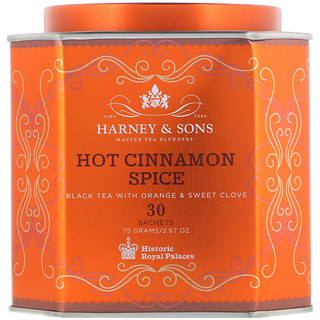 Harney & Sons, 핫 시나몬 스파이스, 오렌지 및 달콤한 정향을 함유한 홍차, 티백 30개, 75g(2.67oz)