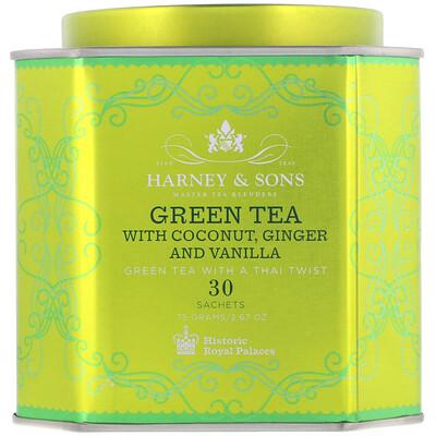 Купить Harney & Sons Зеленый чай с кокосом, имбирем и ванилью, 30 пакетиков, 2, 67 унции (75 г)