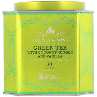 Harney & Sons, Green Tea with Coconut, Ginger and Vanilla, 30 Sachets, 2.67 oz (75 g)