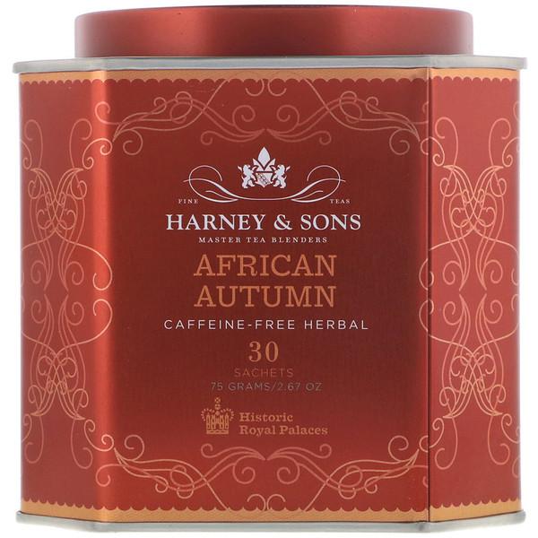 Harney & Sons, סתיו אפריקני, תה צמחי ללא קפאין, 30 שקיות, 2.67 oz (75 גרם) (Discontinued Item)