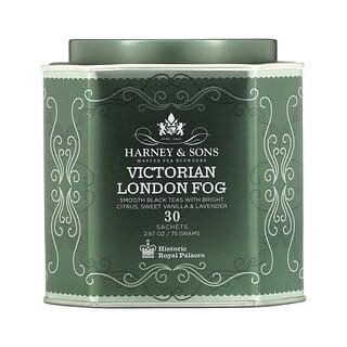Harney & Sons, Victorian London Fog,柔滑的红茶含有浓郁的柑橘、甜香草和薰衣花草,30 袋,2.67 盎司(75 克)