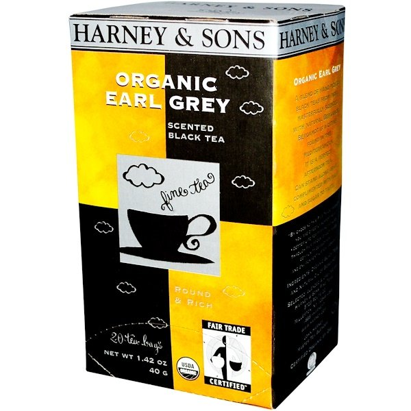 Harney & Sons, Organic Earl Grey, Scented Black Tea, 20 Tea Bags, 1.42 oz (40 g) (Discontinued Item)