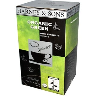 Harney & Sons, Organic Green Tea with Citrus & Ginkgo, 20 Sachets, 1.42 oz (40 g)