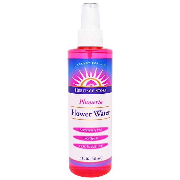 Heritage Store, Flower Water, Plumeria, 8 fl oz (240 ml)