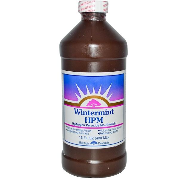 Heritage Store, HPM, Hydrogen Peroxide Mouthwash, Wintermint, 16 fl oz (480 ml) (Discontinued Item)