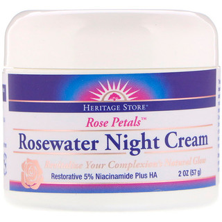 Heritage Store, Rosewater Night Cream, Rose Petals, 2 oz (57 g)