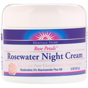 Хэритадж Продактс, Rosewater Night Cream, Rose Petals, 2 oz (57 g) отзывы