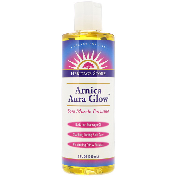 Heritage Store, Arnica Aura Glow, Body and Massage Oil, Sore Muscle Formula, 8 fl oz (240 ml)