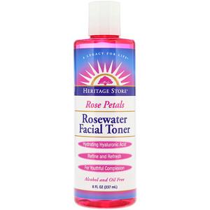 Хэритадж Продактс, Rosewater Facial Toner, Rose Petals, 8 fl oz (237 ml) отзывы покупателей