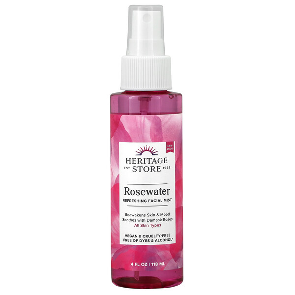 Heritage Store, Rosewater, Refreshing Facial Mist, 4 fl oz (118 ml)
