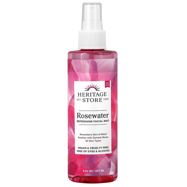 Heritage Store, Rosewater, Refreshing Facial Mist, 8 fl oz (237 ml)