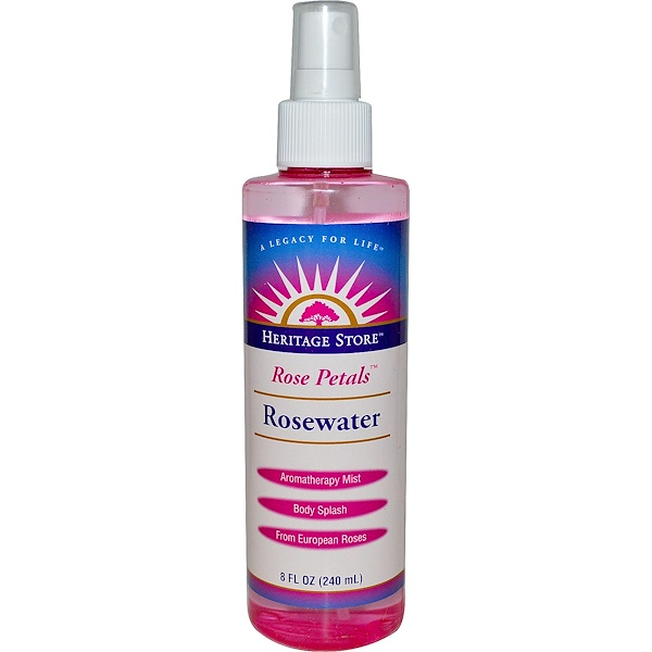 Rosewater, Atomizer Mist Sprayer, Rose Petals, 8 fl oz (240 ml)