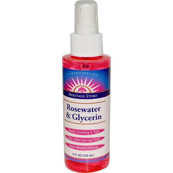 Rosewater & Glycerin, Atomizer Mist Sprayer, 4 fl oz (120 ml)
