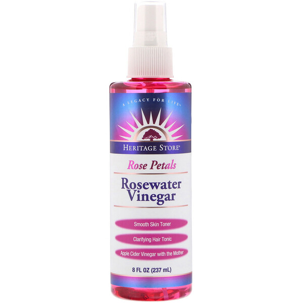 Rosewater Vinegar, Rose Petals, 8 fl oz (237 ml)