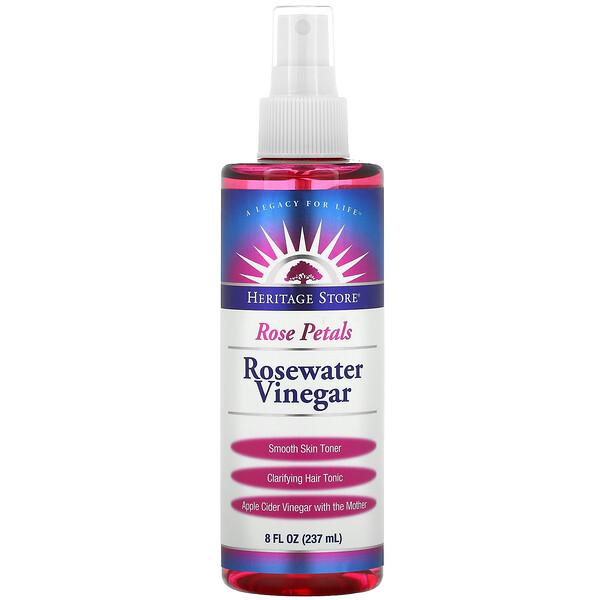 Heritage Store, Rosewater Vinegar, Rose Petals, 8 fl oz (237 ml)