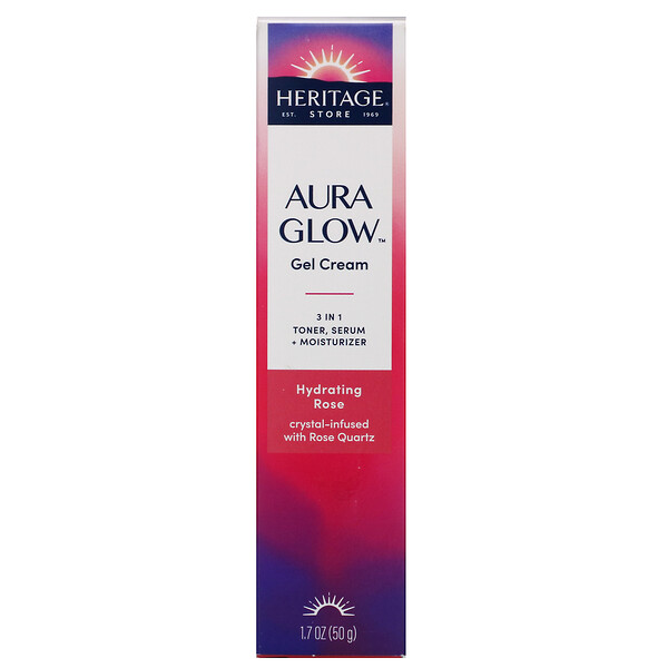 Heritage Store, Aura Glow Gel Cream, Hydrating Rose, 1.7 oz (50 g)