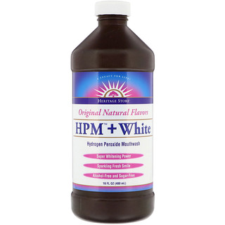 Heritage Store, HPM + White Hydrogen Peroxide Mouthwash, Super Whitening Power, 16 fl oz (480 ml)