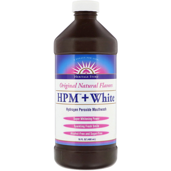 HPM + White, Hydrogen Peroxide Mouthwash, Super Whitening Power, 16 fl oz (480 ml)