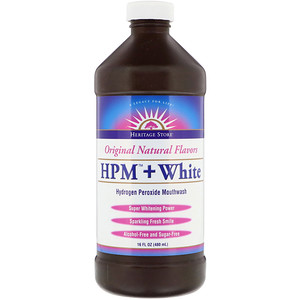 Heritage Store, HPM + White, Hydrogen Peroxide Mouthwash, Super Whitening Power, 16 fl oz (480 ml)