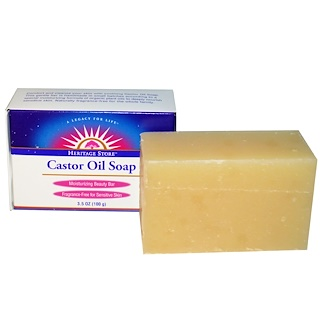 Heritage Store, Castor Oil Soap, Moisturizing Beauty Bar, 3.5 oz (100 g)