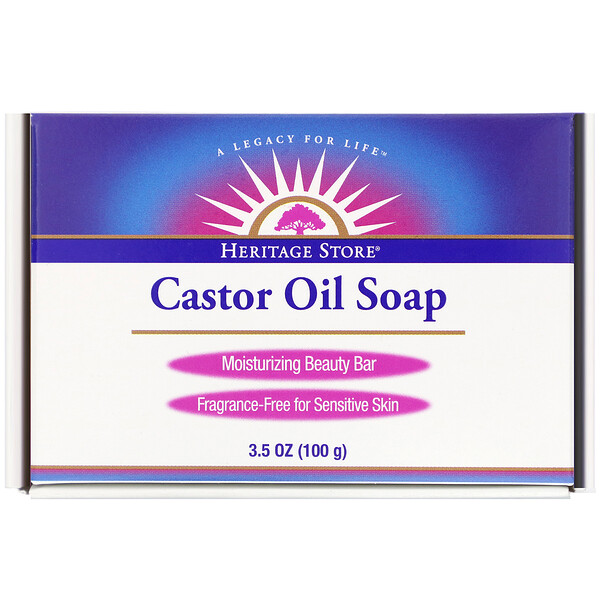 Heritage Store, Castor Oil Soap, Moisturizing Beauty Bar, 3.5 oz (100 g)