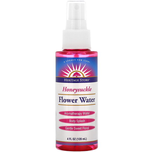 Heritage Store, Flower Water, Atomizer Mist Sprayer, Honeysuckle, 4 fl oz (120 ml)