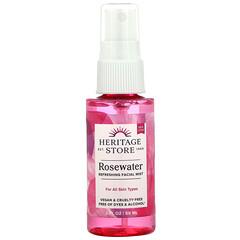 Heritage Store, Rosewater, Atomizer Mist Sprayer, Rose Petals, 2 fl oz (59 ml)