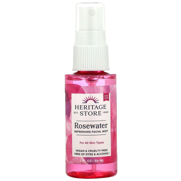 Heritage Store, Rosewater, Atomizer Mist Sprayer, Rose Petals, 2 fl oz (59 ml)
