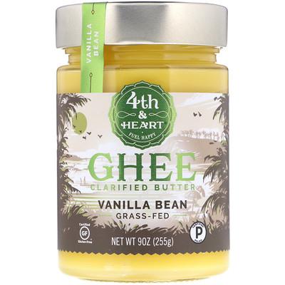 4th & Heart Ghee Butter, Grass-Fed, Vanilla Bean, 9 oz (225 g)