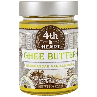 4th & Heart, Ghee Butter, Grass-Fed, Madagascar Vanilla Bean, 9 oz (225 g)