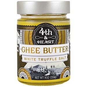 4th & Heart, Масло буйволицы, травяного откорма, соль белого трюфеля, 9 унц. (225 г.)