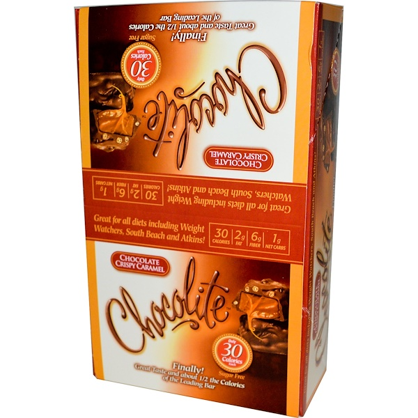 HealthSmart Foods, Inc., Chocolite, Chocolate Crispy Caramel, 16 Count, .84 oz (24 g) Each (Discontinued Item)